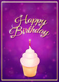 Happy Birthday. Greeting card with cupcake and candle Royalty Free Stock Photo