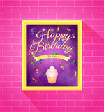 Happy Birthday. Greeting card with cupcake and candle vector illustration