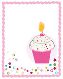 Happy birthday greeting card with cupcake and candle. Background Royalty Free Stock Photography