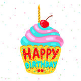 Happy Birthday greeting card with cupcake. Stock Images