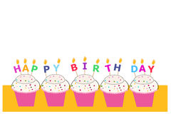 Happy birthday greeting card with cupcakes and candles Stock Photos