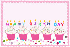 Happy birthday greeting card with cupcakes and candles Royalty Free Stock Photos