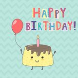 Happy Birthday greeting card with a cute cake Stock Photo