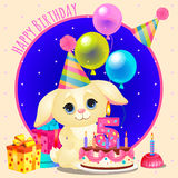 Happy birthday greeting card with cute dog Stock Images