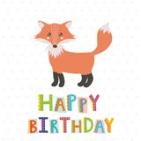 Happy Birthday greeting card with a cute fox Stock Images