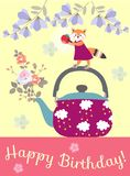 Happy birthday greeting card with cute little fox on the teapot with bouquet of roses. Happy birthday greeting card with cute little fox on the teapot with stock illustration