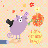 Happy Birthday. Greeting card with cute little pig who gives flowers Royalty Free Stock Photo