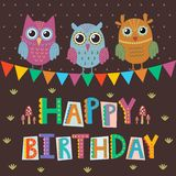 Happy Birthday greeting card with cute owls and funny text Royalty Free Stock Photo