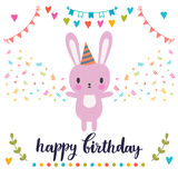 Happy Birthday greeting card. Cute postcard with funny little bunny Royalty Free Stock Images