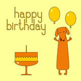 Happy birthday greeting card with dachshund Stock Image