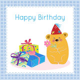 Happy birthday greeting card. Decorative background with cute bear with flower stock illustration