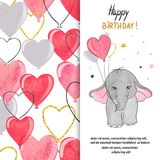 Happy Birthday greeting card design with cute baby elephant and heart balloons. Vector illustration for kids Royalty Free Stock Image