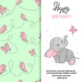 Happy Birthday greeting card design with cute elephant and butterfly. Vector illustration Stock Images