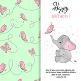 Happy Birthday greeting card design with cute elephant and butterfly. Stock Photography