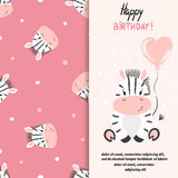 Happy Birthday greeting card design with cute little zebra vector illustration