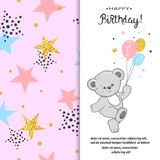 Happy Birthday greeting card design with cute teddy bear and balloons