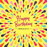 Happy birthday greeting card design for party. Invitation or special event. Colorful festive decoration with typography quote. EPS10 vector Stock Images