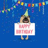 Happy birthday greeting card with dog. In hat, bounting flags garlands and serpentine, vector illustration Stock Photo