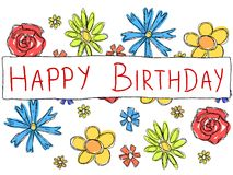 Happy Birthday. Greeting card with doodle scrapbook flowers. Holiday celebration Stock Images