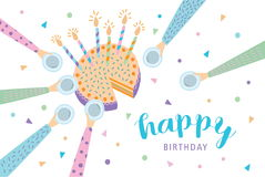 Happy birthday greeting card. Festive cake with candles. Vector illustration, cartoon postcard. Happy birthday greeting card. Festive cake with candles. Vector Royalty Free Stock Photos