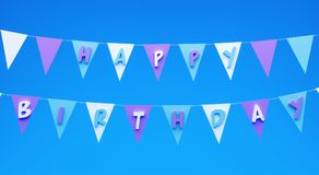 Happy birthday greeting card with flags 3d render. 3d illustration Stock Photos
