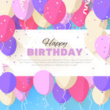 Happy Birthday greeting card in a flat style Stock Image