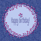 Happy Birthday greeting card, floral wreath. Stock Photo