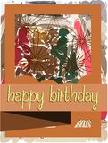 Happy birthday greeting card with flowers Stock Images