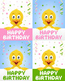 Happy Birthday Cute Chick Stock Photo
