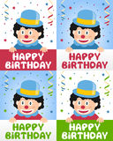 Happy Birthday Little Clown. Happy Birthday greeting card in four versions with a funny little clown, confetti and streamers. A cute idea for a kids or children Vector Illustration