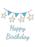 Happy Birthday greeting card with garland with flag and star. And with text. Vector illustration Royalty Free Stock Images