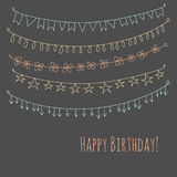 Happy Birthday greeting card with garlands. Happy Birthday hipster greeting card with hand drawn garlands Royalty Free Stock Images