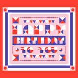 Happy birthday greeting card with geometric lettering Royalty Free Stock Images