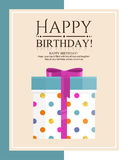 Happy birthday greeting card. Gift box in flat style. Vector illustration Royalty Free Stock Image