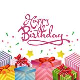 Happy birthday greeting card with gift box. Additional file in eps 10 Royalty Free Stock Image