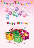 Happy birthday. Greeting card with gift boxes, flowers and balloons royalty free stock photos