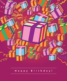 Happy birthday greeting card. Gift-boxes on purple background Stock Photos