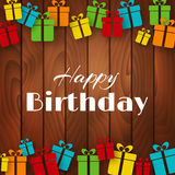 Happy Birthday greeting card with gift boxes Royalty Free Stock Image