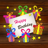 Happy birthday. Greeting card. Gift boxes on a wooden background. Space for your text. Vector. Illustration Royalty Free Stock Photo