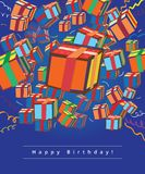 Happy birthday greeting card with gifts. Colorful gift-boxes on blue background Stock Image