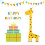 Happy Birthday greeting card. Giraffe with spot. Long neck. Cute cartoon character. Colorful paper flags. Giftbox pyramid set Baby stock illustration