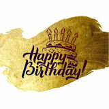 Happy Birthday Greeting Card. Gold Calligraphic Poster with Candles and Cake. Greeting card for birthday on golden royalty free illustration