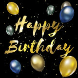 Happy birthday greeting card with golden stylish  lettering.  Stock Photos