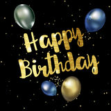 Happy birthday greeting card with golden stylish  lettering. Vector illustration Stock Photos