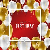 Happy Birthday greeting card with golden and white balloons on r. Ed background. Vector illustration Royalty Free Stock Photography