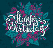 Happy Birthday greeting card with graphic floral bouquet Royalty Free Stock Photography
