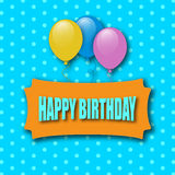 Happy Birthday Greeting Card. Greeting Card With Balloons. Vector Illustration Stock Photo