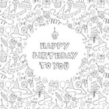 Happy birthday greeting card with hand  drawm pattern and letter Stock Photos