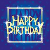 Happy birthday greeting card. Happy birthday blue greeting card with the stars vector illustration