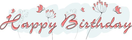 Happy birthday greeting card. With butterflies and flowers Royalty Free Illustration